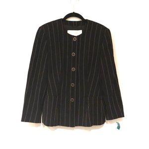 Escada Black & White Striped Tailored Pant Suit 40